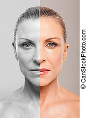 middle aged woman before and after makeup - Comparison of...