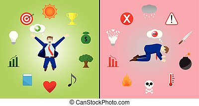 Comparison Of Positive And Negative Businessman