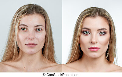 Comparison photo of a beautiful blonde girl without and with makeup.