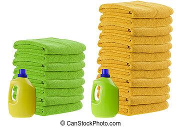 Comparison test - Concept of laundry detergent comparison...