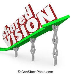 compartido, visión, meta común, trabajadores, coopere,...