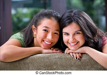 compartilhar, dela, adolescente, femininas, tempo, amigo