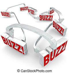 compartilhar, espalhar, setas, quentes, conectado, palavras, zumbido, fofoca, notícia, 3d