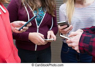compartilhar, grupo, móvel, texto, adolescentes, telefones, mensagem