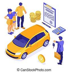 compartilhar, isometric, venda, aluguel carros, seguro