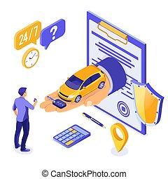 compartilhar, isometric, venda, car, compra, aluguel