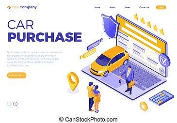 compartilhar, isometric, venda, car, compra, aluguel, online