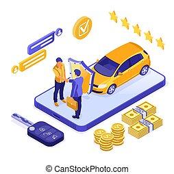 compartilhar, isometric, venda, car, online, aluguel, seguro
