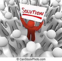 compartilhar, palavra, dificuldade, idéia, solução, segurando, problema, sinal, homem