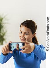 compartilhar, rede, pictureon, asiático, social, menina