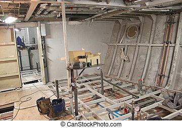 compartiment, bateau, construction, sous