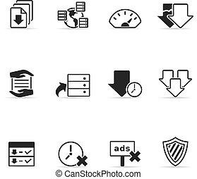 compartir, archivo, iconos