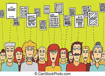 compartir, archivos, /, documento, nube