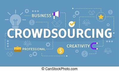 compartir, concept., global, idea, crowdsourcing, equipo