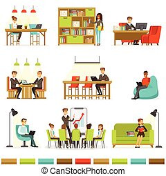 compartir, espacio de la oficina, freelancers, trabajo, ...