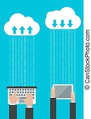 compartir, o, synchronizing, datos, en, el, nube
