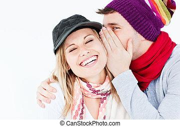 compartir, pareja, secreto, joven