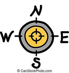 compas, à, sud nord, est, ouest
