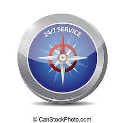 compas, 24-7, concept, service, signe