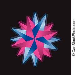 compas, bleu, logo, rose rose