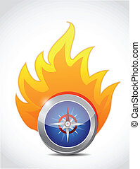 compas, conception, illustration, fire.