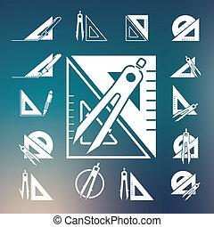 compas, ensemble, dessin, icône