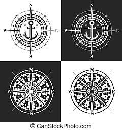 compas, ensemble, vecteur, ou, roses, windroses