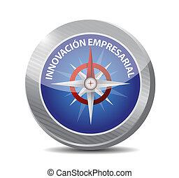 compas, innovation, signe, business, espagnol