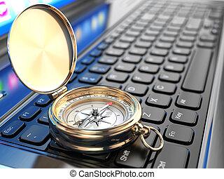 compas, ordinateur portable, ligne, keyboard., navigation.