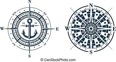 compas, ou, roses, vent, ensemble