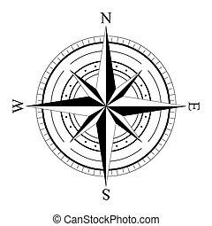 compas, rose, vent
