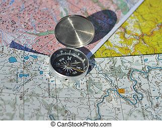 compas, sur, les, maps.