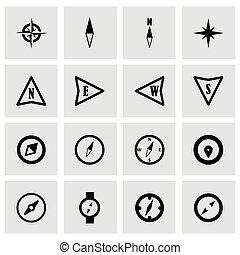 compas, vecteur, ensemble, icône