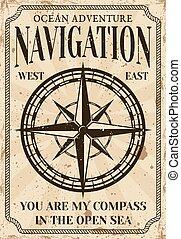 compas, vendange, style, nautique, affiche