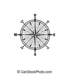 compas, vendange, symbole, signe