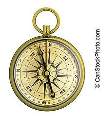 compas, vieux, isolé, or, nautique