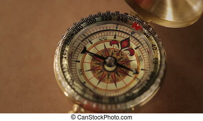 Compass, a navigational instrument - A compass with swinging...