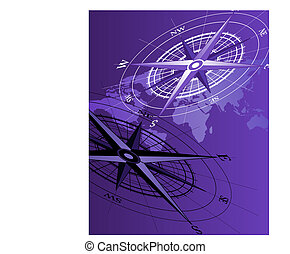 Compass - Abstract background with a compass and world map