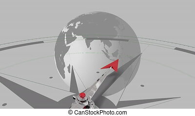 Compass against spinning globe