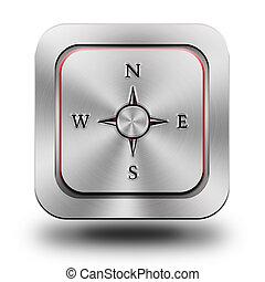 Compass aluminum glossy icon, button