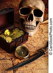 Compass and a map - Pirate treasure. Old brass compass lying...