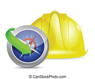 compass and construction helmet