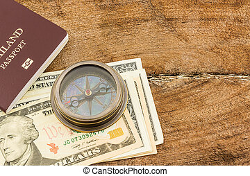Compass and dollar banknote