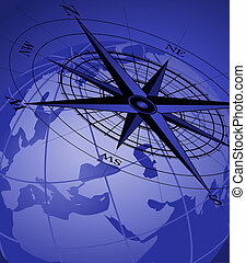 Compass and Globe - Abstract background with compass icon...