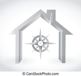 compass and home. illustration design over a white...