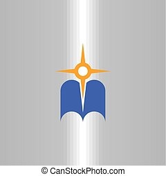 compass and map icon navigation book logo vector