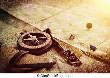Compass and mark on the map.