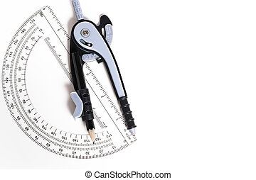 Compass and protractor on a white background