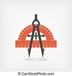 compass and protractor symbol