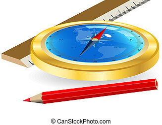 Compass and red pencil
